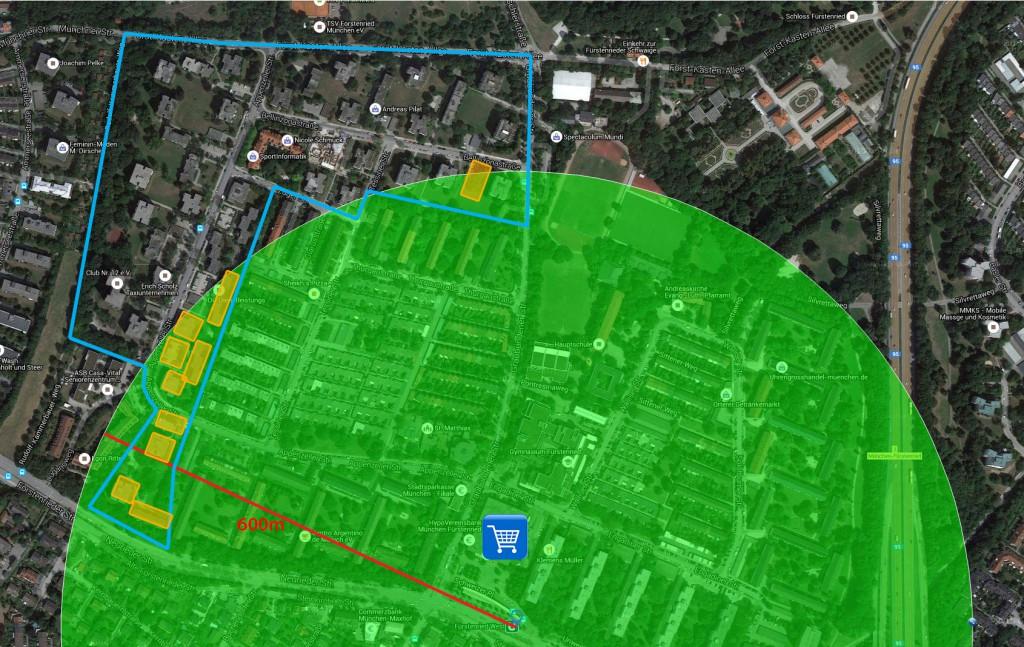 600m Radius, Planungsumgriff, Nahversorgung, Verdichtungskandidaten