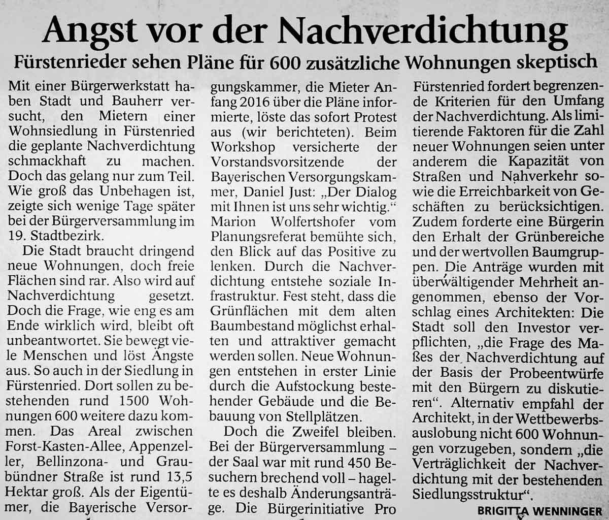Münchner Merkur: Bericht über BVK Bürgerworshop und Bürgerversammlung