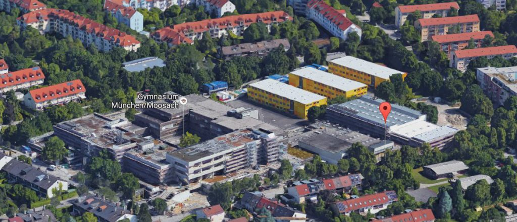 Baumaßnahmen am Gymnasium Moosach - (c) 2016 Google Maps